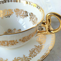 Antique Royal Grafton Fine Bone China Tea Cup and Saucer/Elegant Tea Party/Wedding Gift