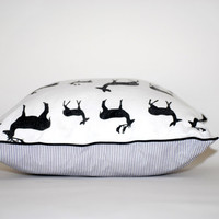Small pillow, nursery pillow, black and white nursery, deer nursery decor