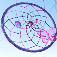 Purple Pink Butterfly Sun Catcher - Dream Catcher - Mandala from Twisted Thread And Hook