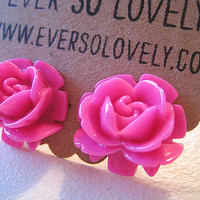 large pink rose stud earrings - neon wedding