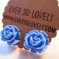 large sky blue rose earrings
