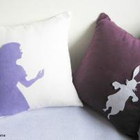 Alice And Rabbit In Wonderland White and Plum by RaineStyleHome