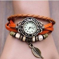 Lady Watch Vintage Style Wrist Watch Real Leather Bracelet, Handmade Women's Watch, Everyday Bracelet  T028