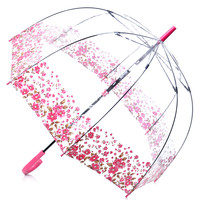 Pink Floral Border Clear Birdcage Umbrella - Unique Vintage - Prom dresses, retro dresses, retro swimsuits.