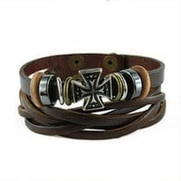 Women leather bracelet cross pendant Brown Leather bracelet Charm Bracelet  high quality bracelet  T2