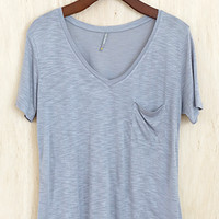 Perfectly Imperfect One-Pocket Shabby Tee, Soft Gray