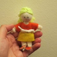 Girl Cloth Doll- Felt, Wool, Cloth, Orange, Yellow, Cute, Gift