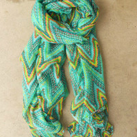 Chevron Ikat Scarf in Green [3867] - $16.00 : Vintage Inspired Clothing & Affordable Dresses, deloom | Modern. Vintage. Crafted.