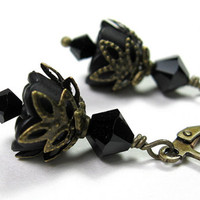 Flower Earrings, Gifts For Gardeners, Jet Black, Swarovski Crystal, Woodland, Dangle Earrings, Gifts for Women, Floral, Halloween, Goth