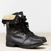 AEO Faux Sherpa Lace-Up Boot | American Eagle Outfitters