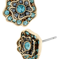 BetseyJohnson.com - IMPERIAL BLUE ROSE STUD EARRING BLUE