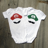 Twin Shower Gift Mario And Luigi Super Mario by TheWishingElephant