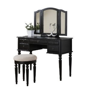 Bobkona St. Croix Collection Vanity Set with Stool, Dark Cherry