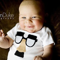 The Groucho Glasses Funny Baby Shirt by TheWishingElephant