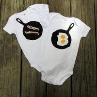 Bacon and Eggs Twin or Sibling Set by TheWishingElephant on Etsy