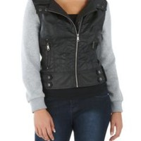 Moto Style Faux Leather & Fleece Hoodie: Dots.com