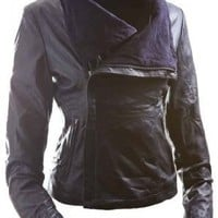  E Funk Women&#x27;s 100 % Lamb Leather Fitted Asymmetric Jacket