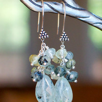 Tourmalinated Prehnite Earrings, Sterling Silver, Wire Wrapped Green Teardrop Clusters, ready to ship.