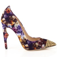 120mm Floral Velvet Flicker Pumps | Jerome C. Rousseau | Avenue32