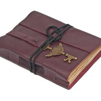 Burgundy Leather Journal with Winged Clock Key Bookmark and Tea Stained Pages