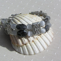 "Labradorite & Gray Cats Eye Gemstone Crystal Bracelet - ""Apollo"""