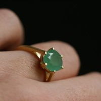 Gold Green Chalcedony Gemstone Ring