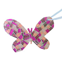 Pink Butterfly Mosaic Christmas Ornament