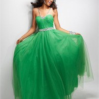 Ball Gown beaded straps and waistband Low-back tulle Green Prom Dress PD10310