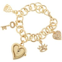 XOXO Women's XO7032 Gold Mirror Dial Gold-tone Charm Watch - designer shoes, handbags, jewelry, watches, and fashion accessories | endless.com
