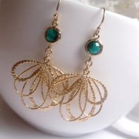 14k Gold Filled With Emerald Drop And Matte Gold Plated Fan Dangle Earrings