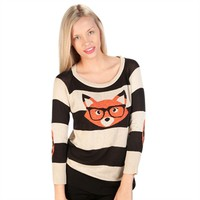 Absolutely Juniors Striped Nerdy Fox Sweater at Von Maur