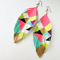 Jem  -  Geometric Hand Painted Faux Leather Feather Earrings - Surgical Steel
