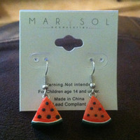 Watermelon Sparkle Red Cute Handmade Polymer Clay Earrings Kawaii