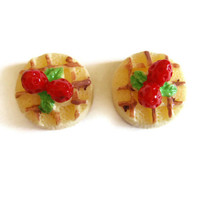 Waffle Earrings - Breakfast waffles with strawberry - Studs - Food Jewelry