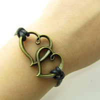 Vintage Style Bronze Hearts Pendant Black Ropes by braceletcool