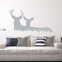 Deer in Grass Style C Vinyl Wall Decal 22328