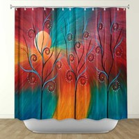 Shower Curtain from DiaNoche Designs by Arist Tara Viswanathan Home Décor and Bathroom Ideas - Peacock Inspiration II