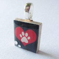 I Love Dogs Paw Print Rhinestones - Scrabble Tile Pendant Necklace - Necklace Included