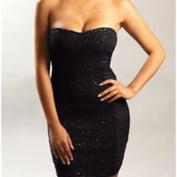 The Black Hot Sequin Strapless Dress