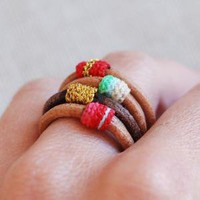set of 4 leather rings by kjoo on Etsy