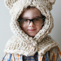 Knitting PATTERN - Chunky Kitty Hood in Toddler, Child and Adult Sizes (hat011)