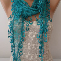 ON SALE, Teal Scarf, Cowl Scarf, Womens Fashion, Lace Scarf, Bridesmaids Gift Scarf Accessory