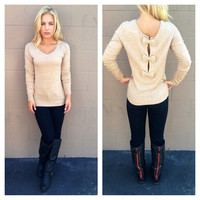 Oatmeal Bow Back Sweater