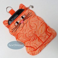Orange Marmalade Kitty Cat shaped padded cell phone camera device case