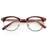 Vintage Optical RX Clear Lens Clubmaster Wayfarer Glasses 2946 49mm