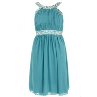Petrol Blue And Silver Chiffon Dress