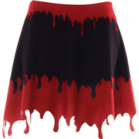 ROMWE | Dropping Blood Print Black Skirt, The Latest Street Fashion