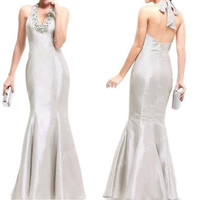 mermaid prom dresses, silver prom dress, affordable prom dress, halter prom dresses, silver bridesmaid dresses, evening dress, BM0278