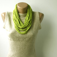 Summer Scarf  Green skinny scarf Infinity scarf necklace spring summer fashion vegan Lime green Tender shoots Pantone fashion