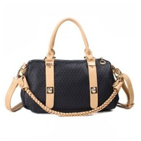 Retro Elegant Braid Strap Pure Color Handbag